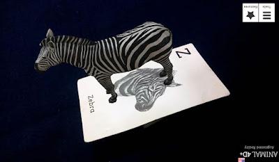 Hewan Animasi Zebra Dengan Kartu Animal 4D+
