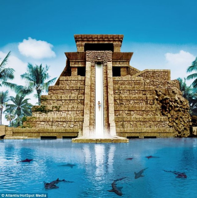 The Mayan Temple water slide in the Bahamas, a detailed replica of the Temple of Doom, is the ultimate ride for Indiana Jones-style thrillseekers