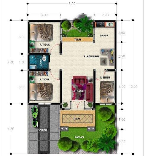3 Contoh Denah Rumah Minimalis Modern Terbaru: Denah Rumah Type 60 (1 Lantai, 2 Lantai & 3 Kamar Tidur
