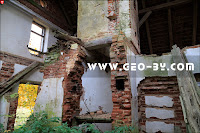 Inside the ruins of manor of abandoned 19th century estate