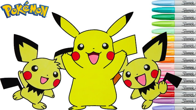 Pokemon Coloring Book Pikachu Pichu Pokmon Colouring Pages Episode Rainbow  Splash