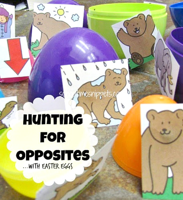 Opposite Pairs game that uses plastic easter eggs and a bear printable