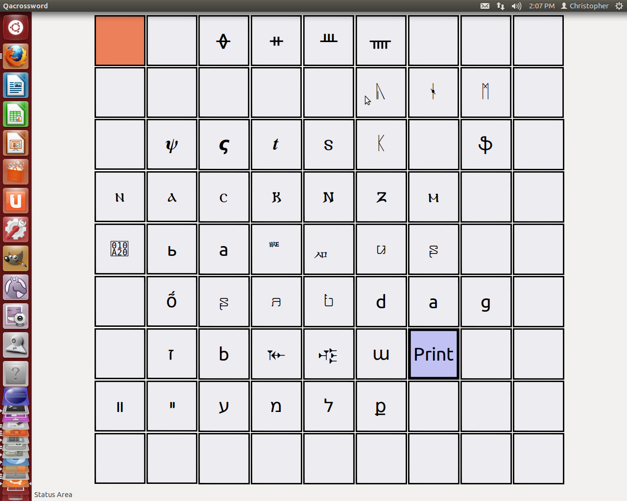 Workspace: Pygtk 3+ gui app using pango for character rendering
