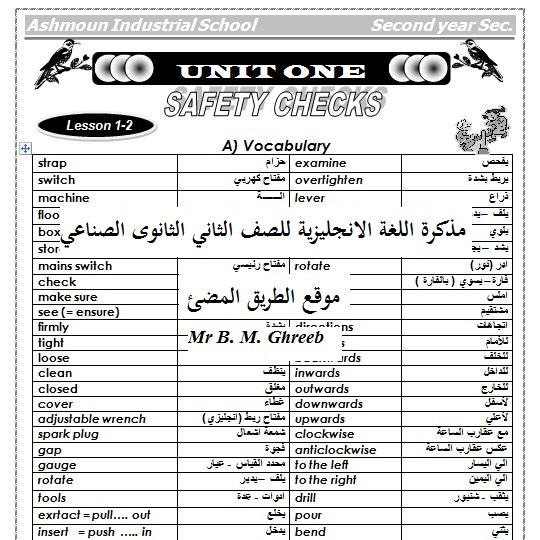حمل مذكرة اللغة الانجليزية للصف الثاني الثانوى الصناعي ترم أول ,مذكرة وورد برابط مباشر