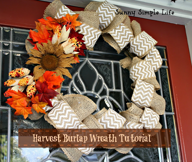 fall porch, pumpkins, wheelbarrow, burlap wreath