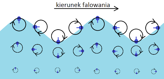 Falowanie pojedynczych cząstek wody wgłębokim zbiorniku