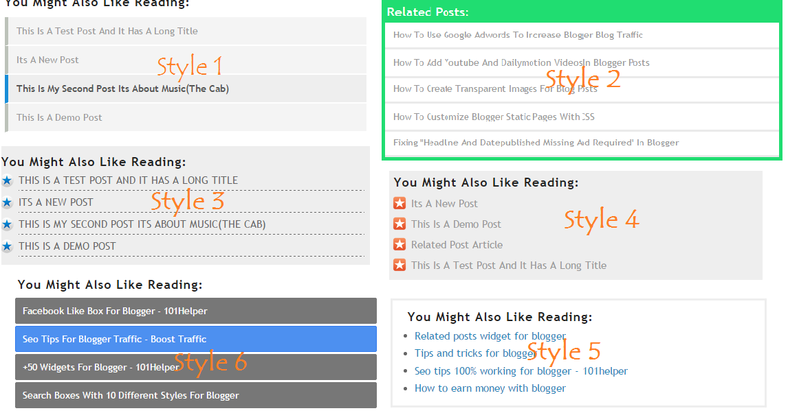 Link/text Only Related Posts Widget For Blogger With 6 Different