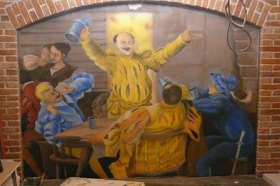 Malowanie obrazu UV na ścianie, obraz świecący w ultrafiolecie, mural w karczmie, Toruń