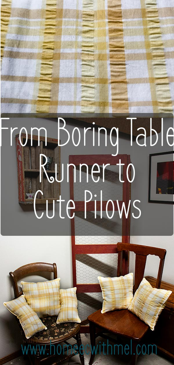 Upcycle that table runner that just doesn't work in your dining room anymore and turn it into a set of pillows to brighten your living space.