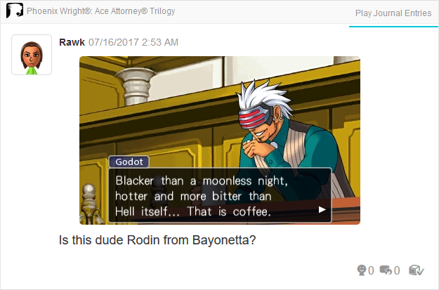 Phoenix Wright Ace Attorney Trials and Tribulations Godot blacker than a moonless night hotter and more bitter than Hell itself that is coffee