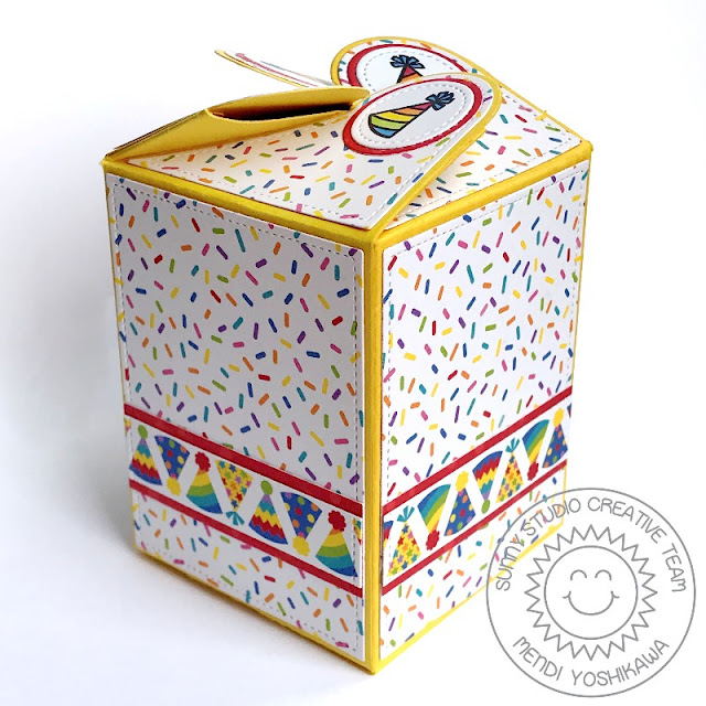 Sunny Studio Stamps Party Hat Birthday Gift Box (using Wrap Around Box Die and Surprise Party 6x6 Paper)