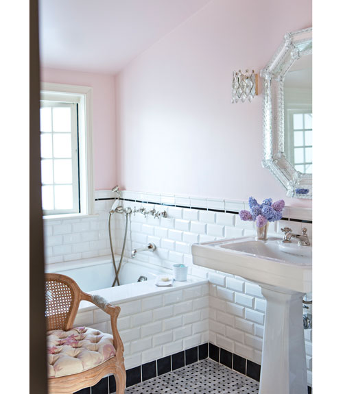 Pink And White Bathroom: White Floors: Tiles, Toilets And Tapware