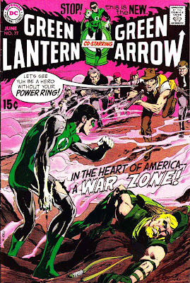 Green Lantern Green Arrow #77 dc comic book cover art by Neal Adams