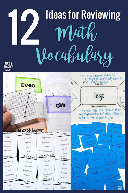 Math vocabulary practice is so important for students!  These ideas for activities and games will help you find fun and engaging ways to practice with your students.