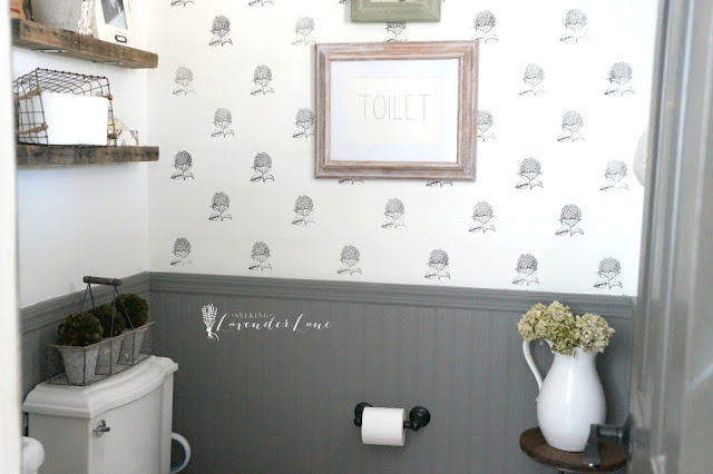 Dark gray beadboard bathroom
