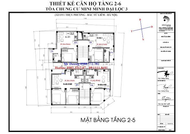 Mặt bằng thiết kế căn hộ tầng 2-6 tòa chung cư mini Minh Đại Lộc 3
