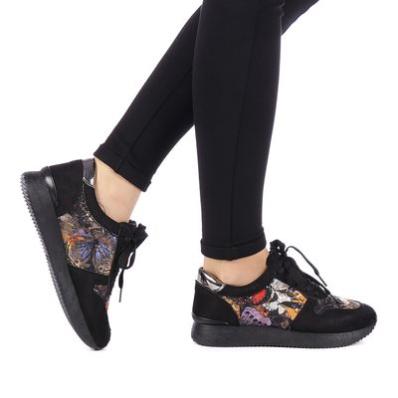 Pantofi sport dama Enisia negri cu imprimeu modern