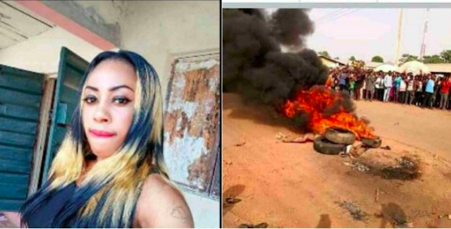 Pretty Girl Burnt To Death For Aiding Robbers In Cross Rivers State Nigeria