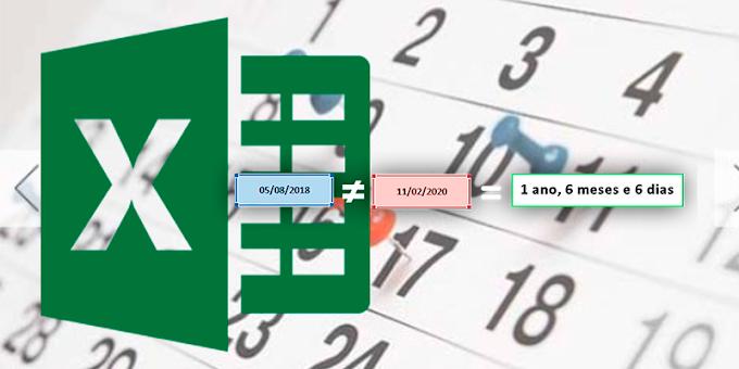Como calcular a diferença de dias, meses e anos entre duas datas no Excel