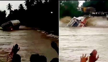 Truck washed away by flooded river in Karnataka