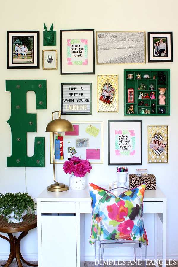 marquee letter, gallery wall, p kaufmann tutti frutti fabric, floral pillow, letterboard, ikea desk