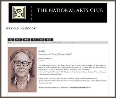 he National Arts Club. New York: Graham Hancock Lecture. Art by Travis Simpkins