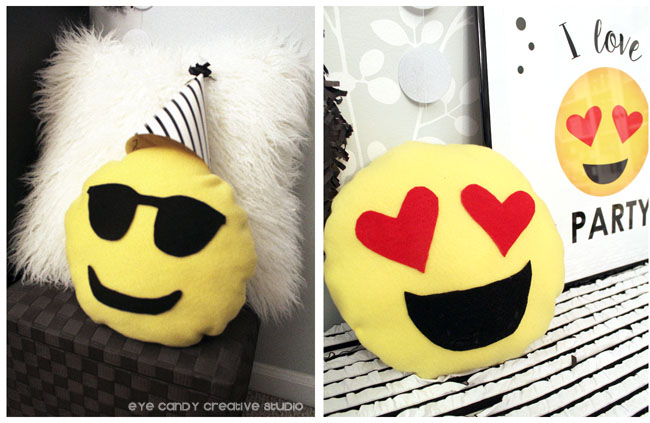 emoji pillows, emoji craft, emoji birthday craft idea, homemade