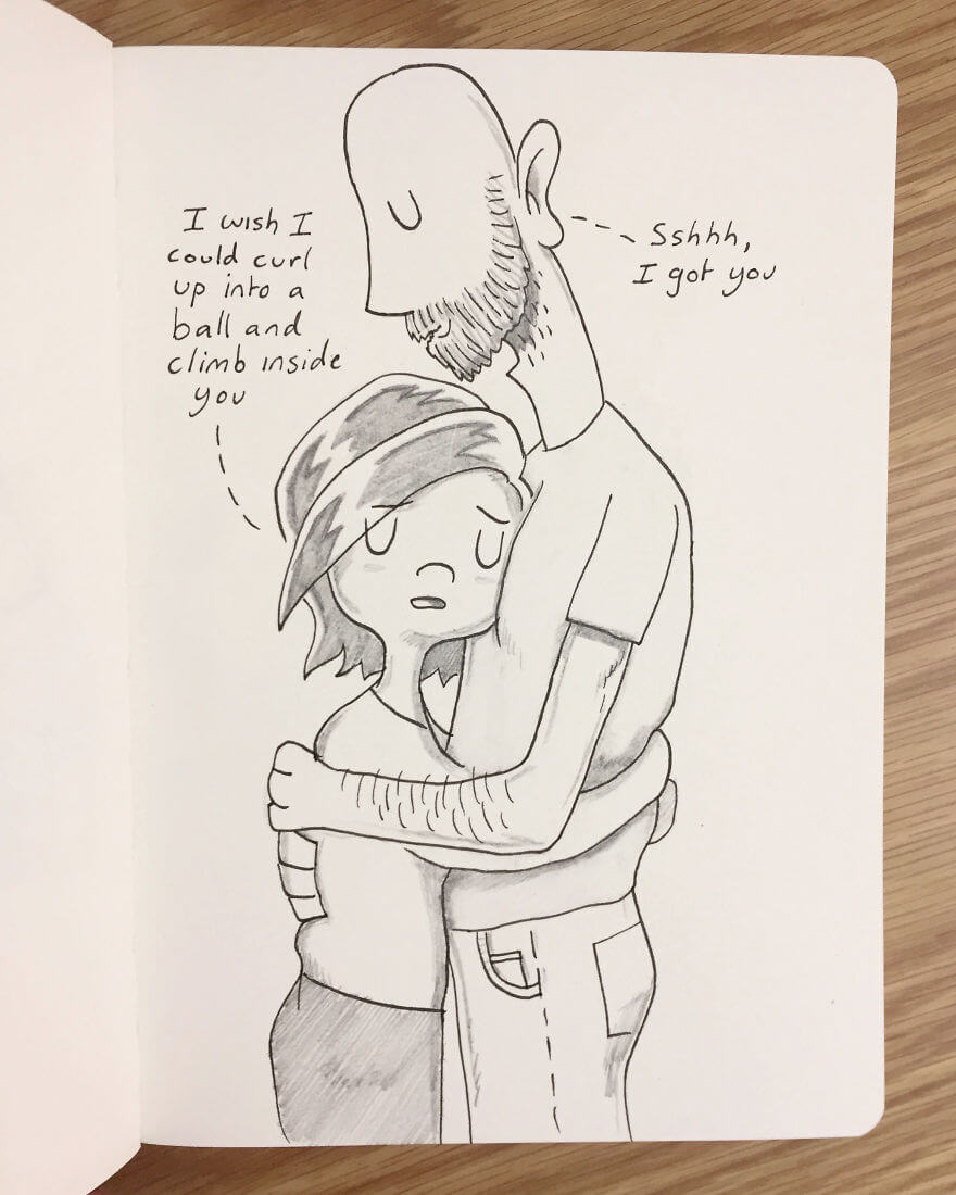 Guy Has Been Drawing A Comic Every Day For His Partner For Five Whole Years - When Kellie Is Having A Hard Time I Try My Best To Help Her Through It