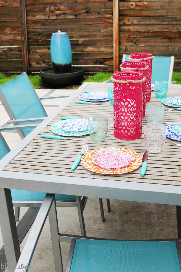 Outdoor patio dining table setting