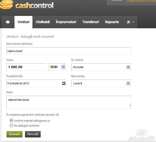 cash control, adaugare venit recurent