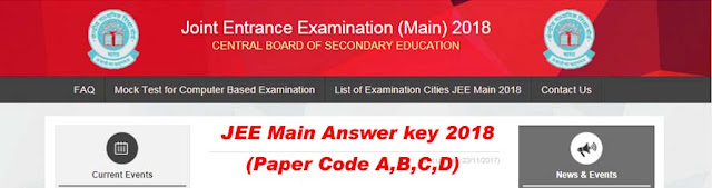 JEE Main 2018 Exam Answer key, Paper Solution Available Here by jeemain.nic.in