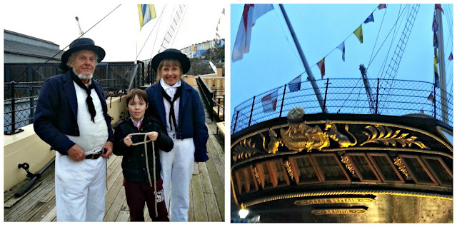 Two photos featuring the SS Great Britain, and the staff dressed as authentic crew memebers