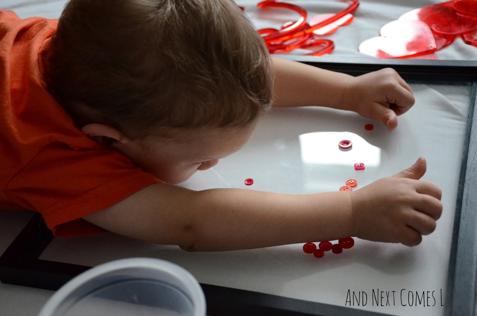 Valentine's loose parts play for toddlers