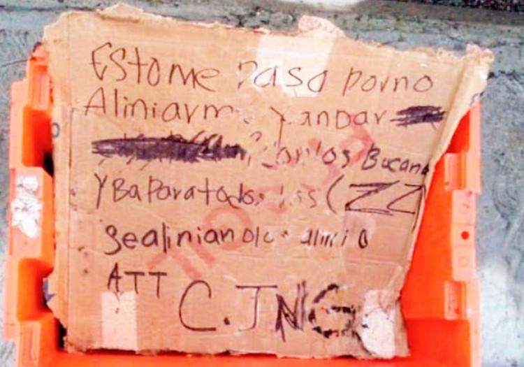 """""""Esto me pasa por no alinearme"""", Sicarios del CJNG dejan destazado un cuerpo justo a amenaza para """"El Bukanas"""" en Puebla."""