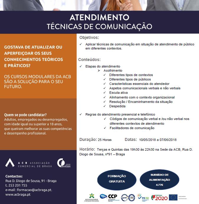 curso grátis de Técnicas de Comunicação em Braga