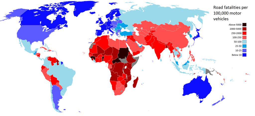 Road fatalities per 100,000 motor vehicles