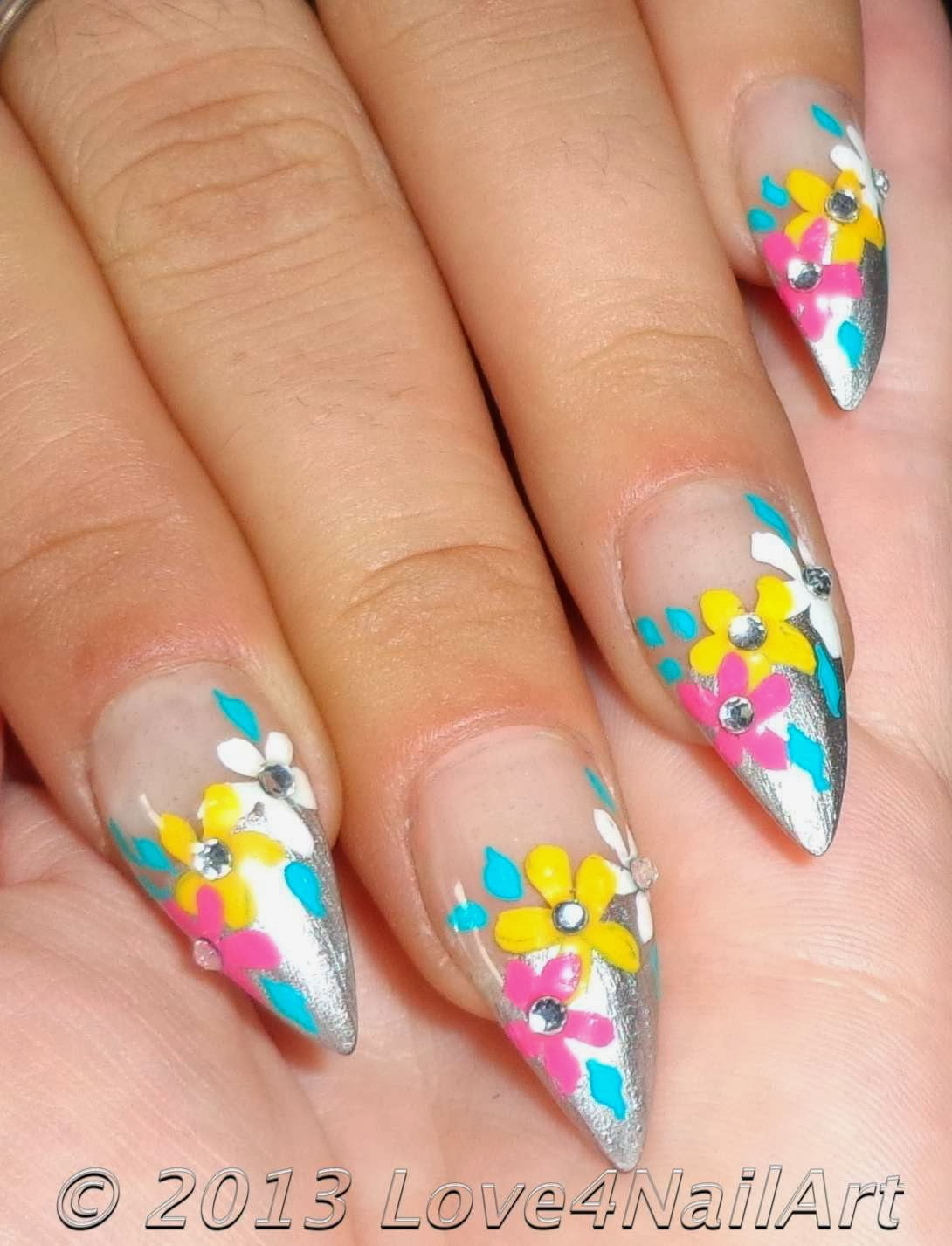 Stiletto Nails Fake Nails Matte Nails Blue Press On Nails: Love4NailArt: Flowery Nail Art For Stiletto Nails
