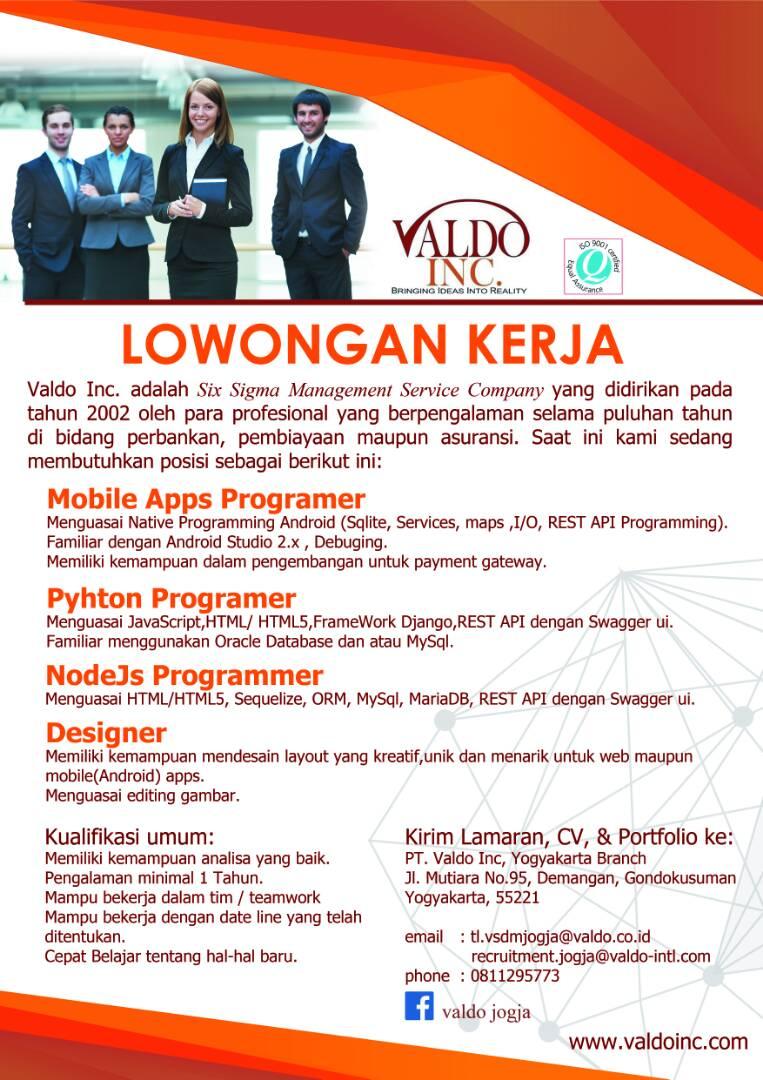 Lowongan Programmer  Designer  Purwokerto, Yogyakarta  JobsDB