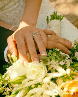 a photography of the bride and grooms hands with their wedding rings in Colorado