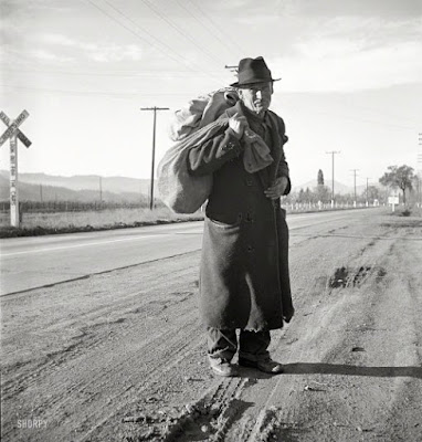 Climbing My Family Tree: Hitchhiking 1938. Napa Valley, California. Farm Security Administration