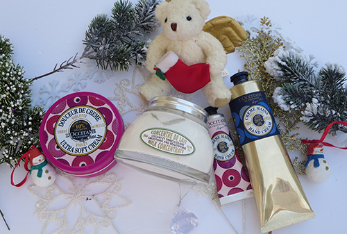 L'Occitane limited edition Violet ultra soft cream and hand cream and Almond Milk Concentrate lotion