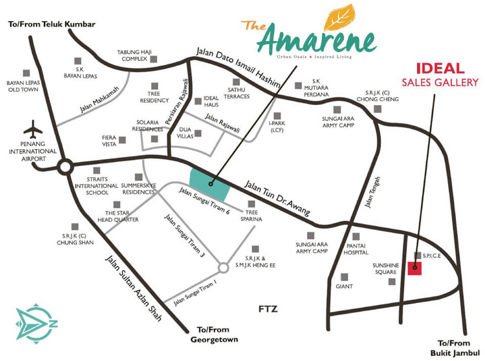 The Amarene Condominium Penang Map Location