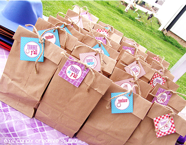kids goodie bags at cowboy birthday party, thanks y'all, brown bag
