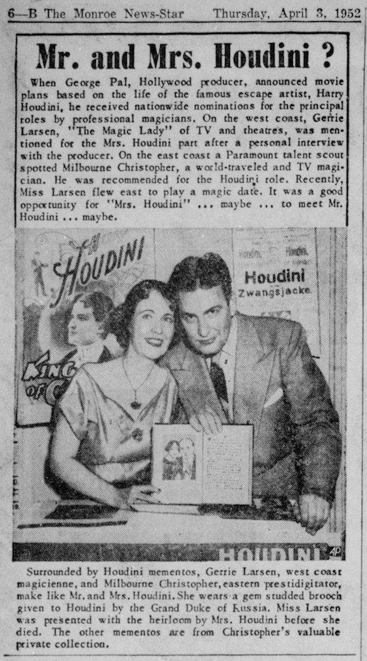 WILD ABOUT HARRY: Houdini hopefuls of 1952