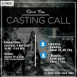 info casting audisi mencari pemain bintang film pendek short movie