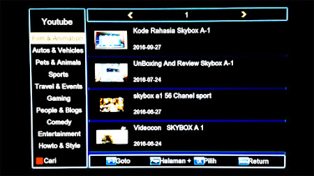 cara buka youtube di receiver skybox A1