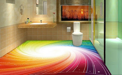 epoxy 3D floor painting ideas for 3D bathroom flooring