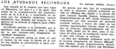 Recorte de un artículo de Manuel Muñoz, desde Ginebra, publicado en Problemas nº 30 – Abril a Junio 1985
