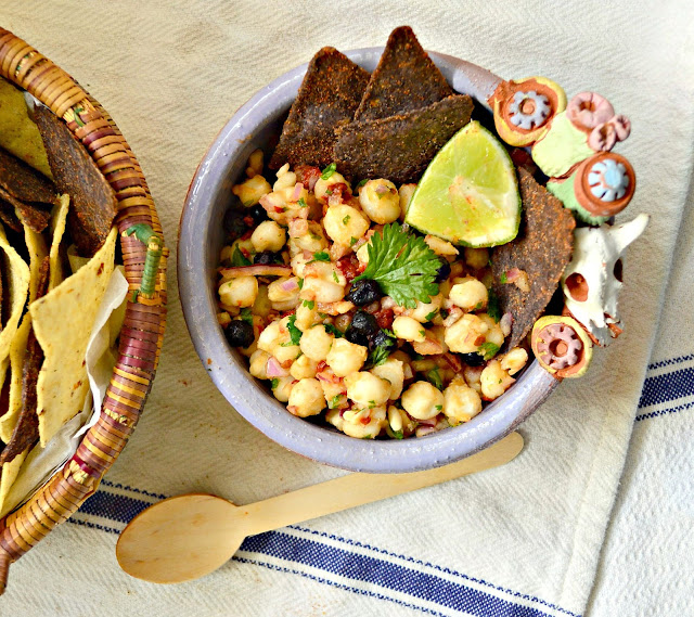 Hominy and dried blueberry salsa