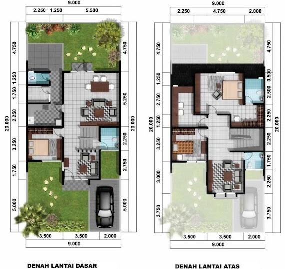 Desain Rumah Simpel 2 Lantai dengan 3 Kamar Tidur dan 2 Taman